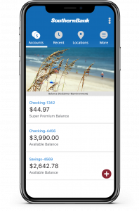 New Southern Bank Mobile App on Phone Graphic